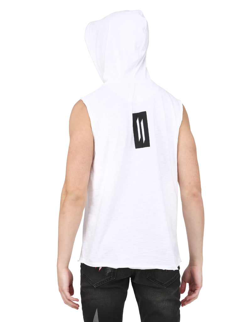 MEN WHITE SLEEVELESS HOODED T-SHIRT WITH BLACK CAP