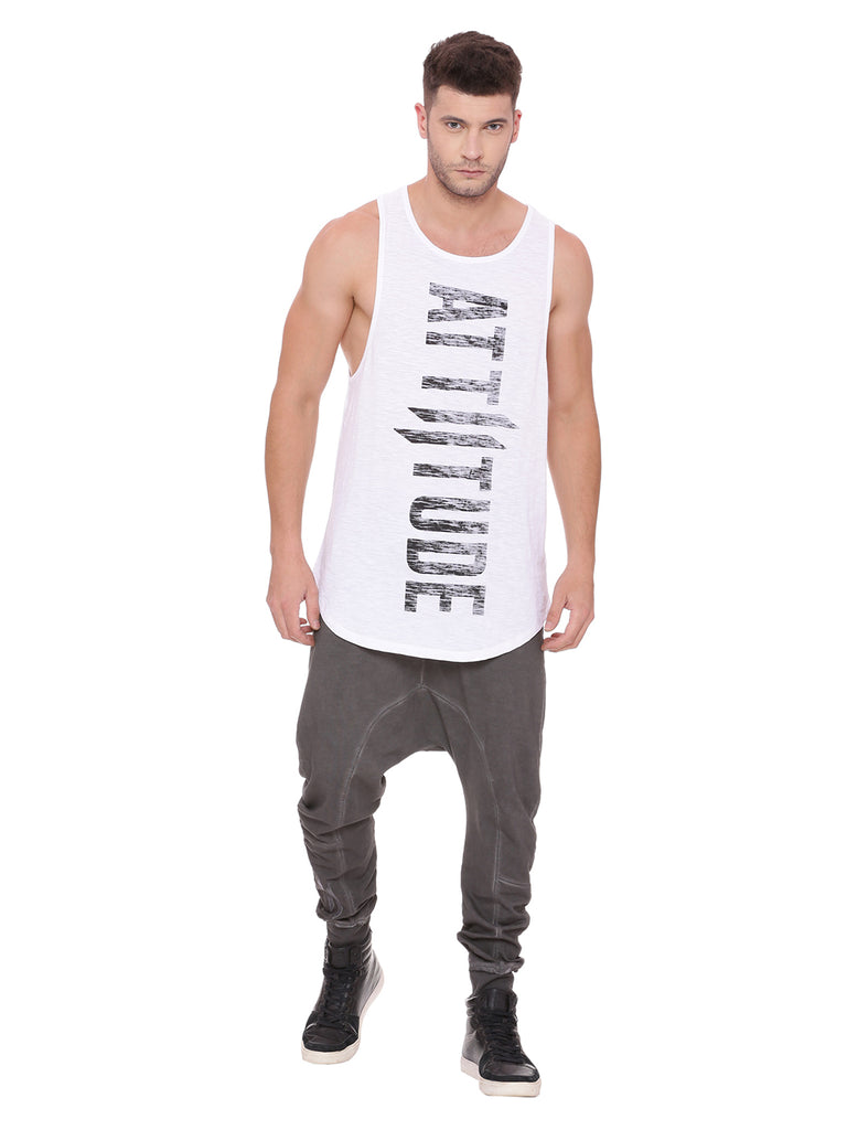 Attiitude white tank top with black pigment logo