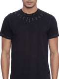 ATTIITUDE Medallion printed All Black T SHIRT
