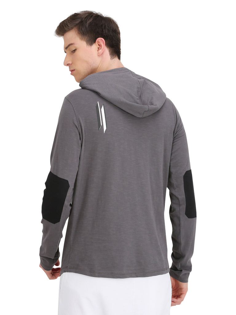ATTIITUDE GREY HOODED T-SHIRT WITH 3D PRINT ON CHEST