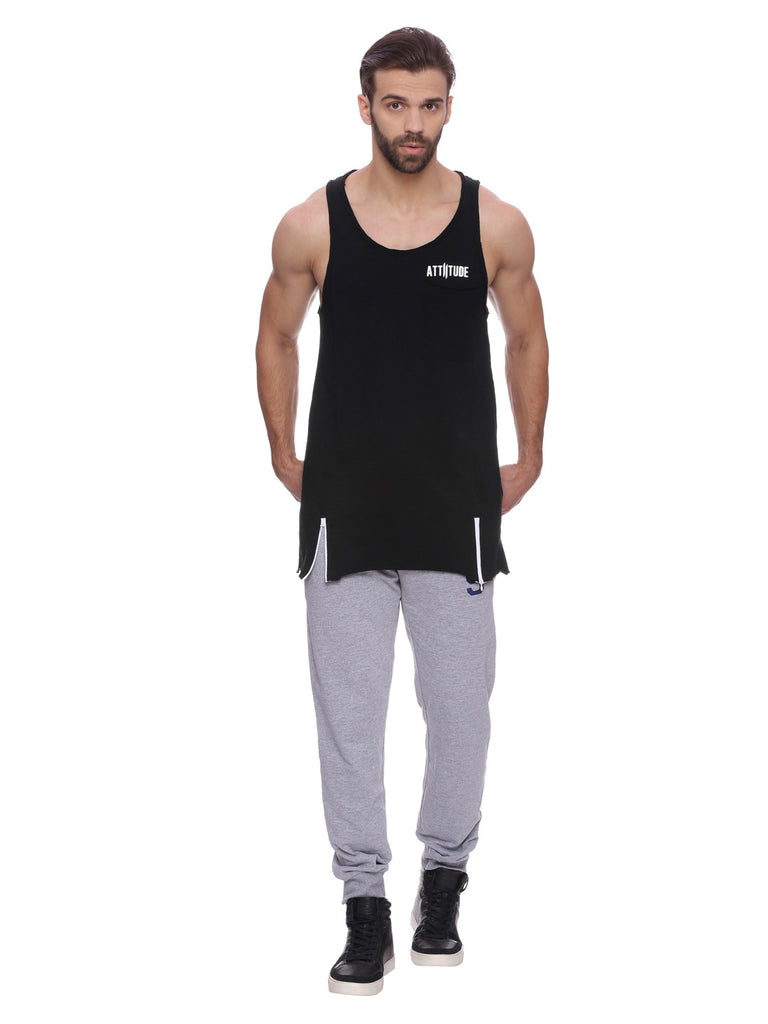 Attiitude Black Vest with Front Pocket
