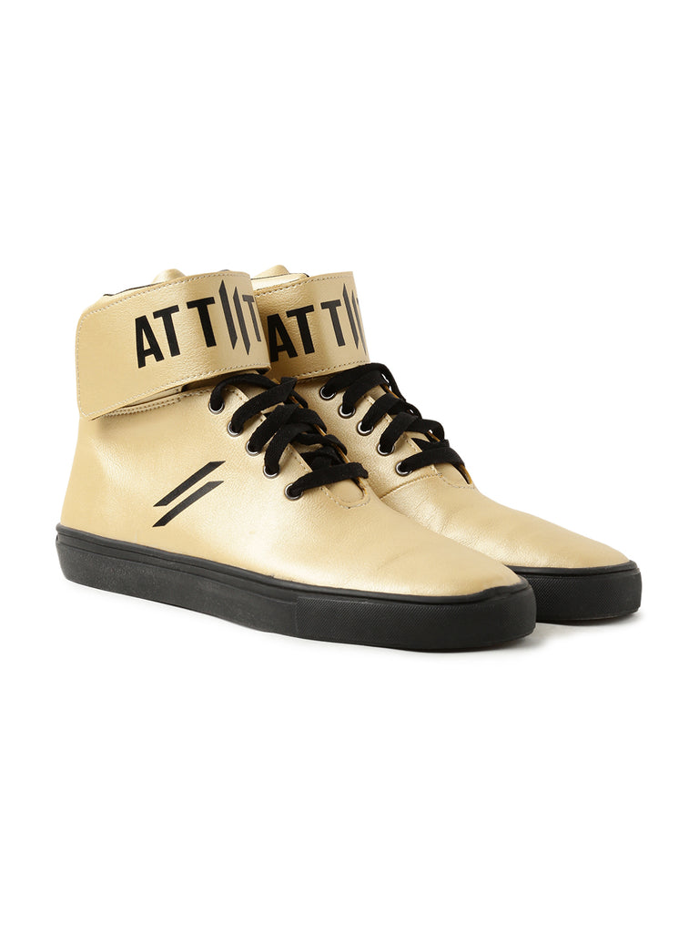 Men High Top Flat Boots Styled With Attiitude Logo On Ankle-Gold