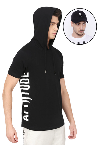 BLACK PRINTED HOODED T-SHIRT AND BLACK CAP
