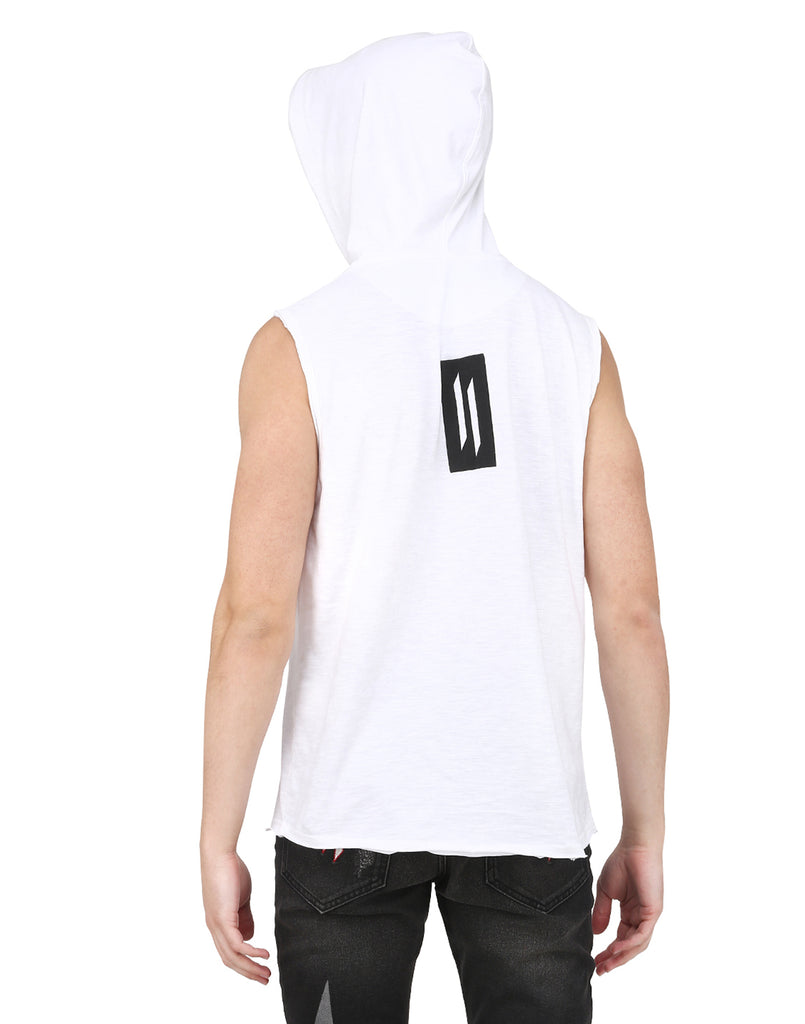 WHITE SLEEVELESS HOODED T-SHIRT WITH DR-GREY MASK