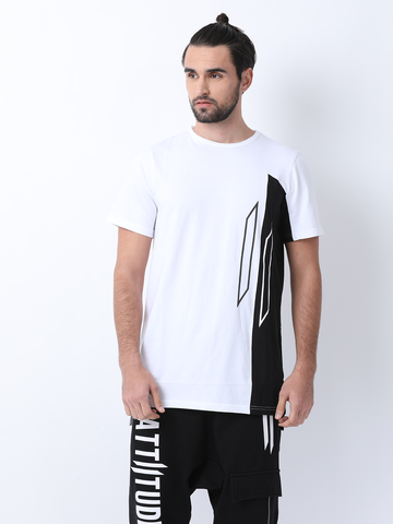 ATTIITUDE GREY TSHIRT WITH TEXT BOX & ASYMMETRICAL HEM