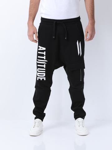 ATTIITUDE LOW CROTCH BAGGY BLACK BOTTOM