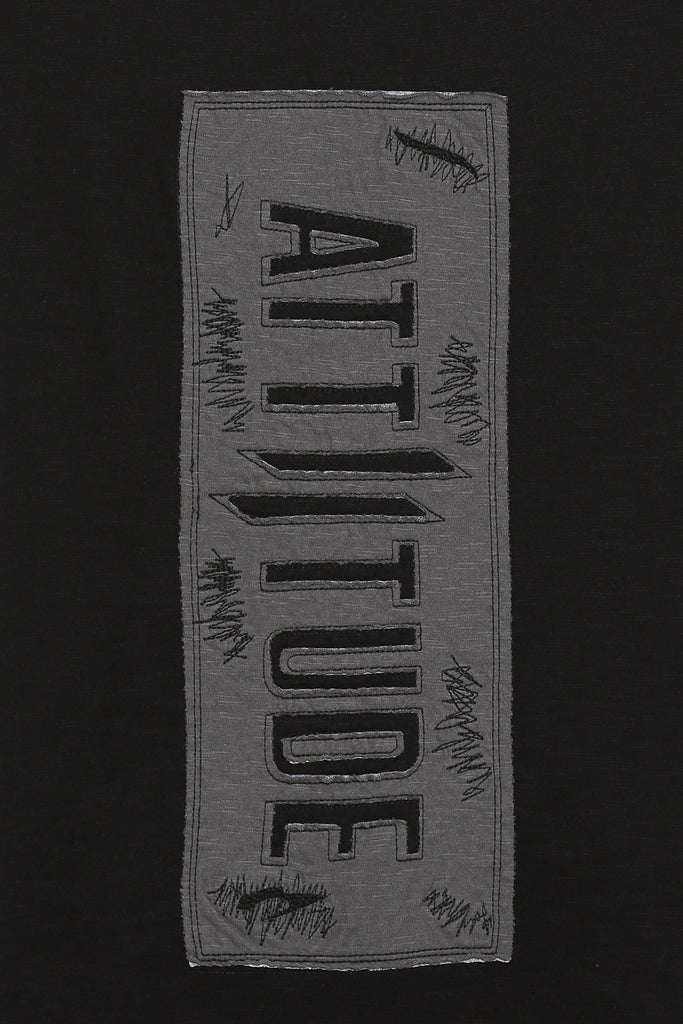 ATTIITUDE BLACK TANKTOP WITH RAW EDGE APPLIQUE AND CAP