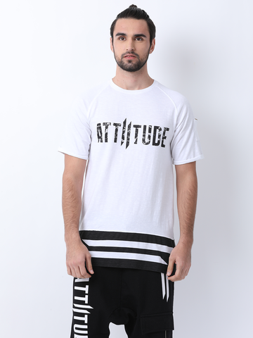 ATTIITUDE Black T shirt with Screen print and White Rib