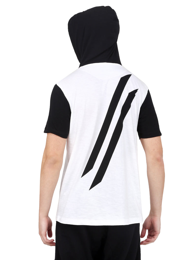 DUAL TONE HOODED T-SHIRT WITH BLACK LOGO