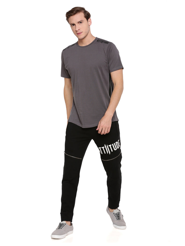 Attiitude Dark Grey T-Shirt With Cut-N-Sew Panels