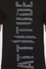 ATTIITUDE BLACK T-SHIRT WITH GRUNGE FLOCK PRINT AND ARM SLEEVE