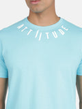 Attiitude Medallion Printed Logo T-Shirt-Light Blue