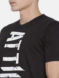 CHRIS GAYLE SIGNATURE COLLECTION BLACK T-SHIRT WITH BRAND LOGO FLOK PRINT AND GREY MASK