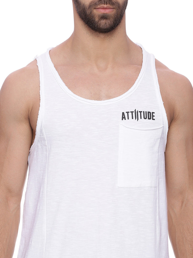Attiitude Vest with Front Pocket - White Vest
