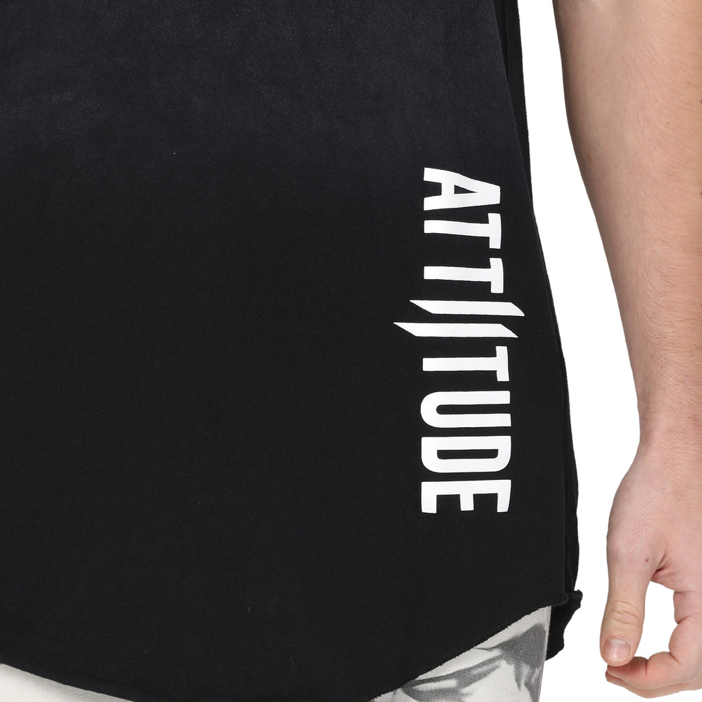 Attiitude Black Sleeveless Loose-Fit Vest for Men
