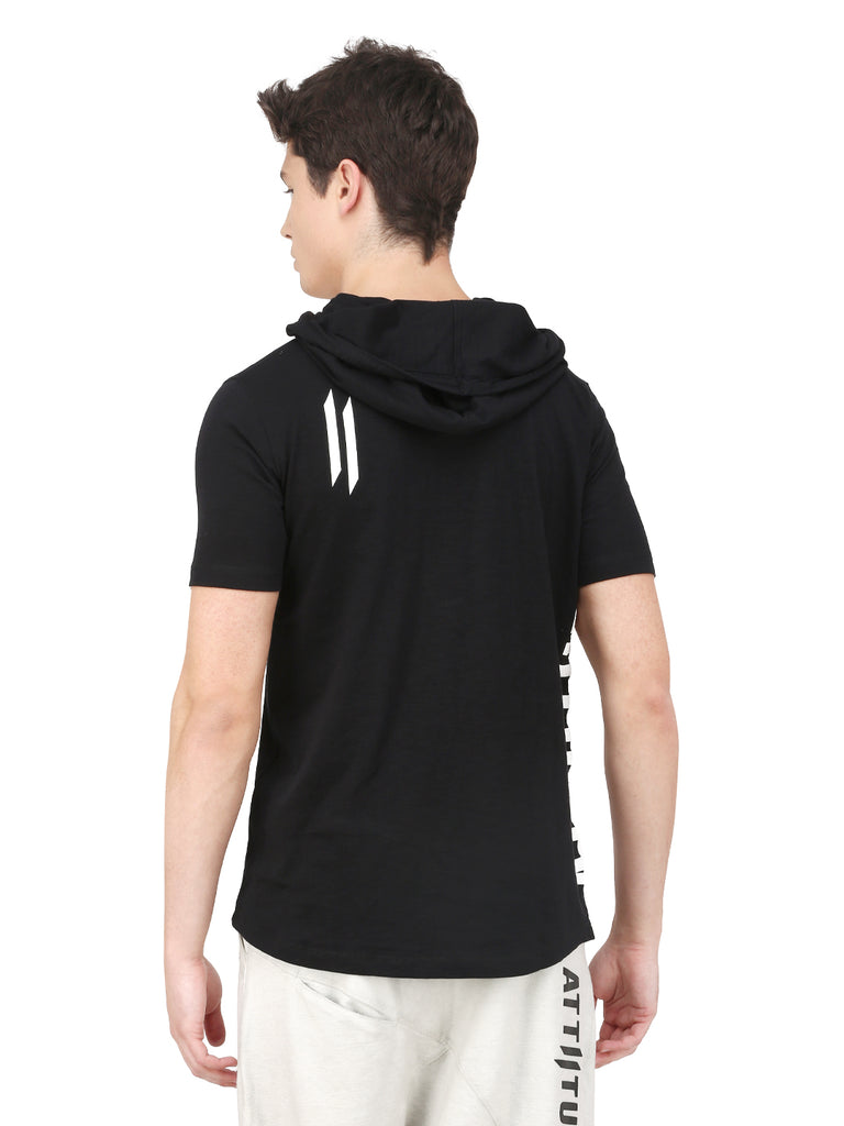 BLACK HOODED TSHIRT AND MASK