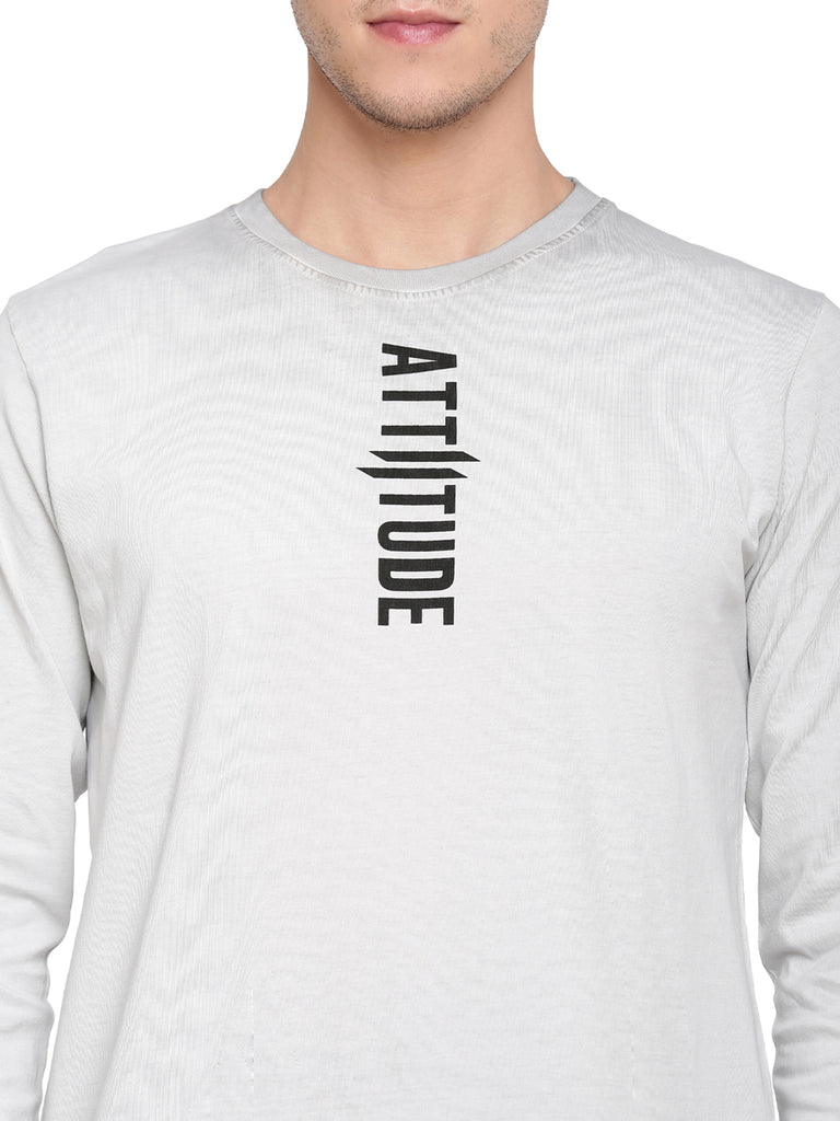 Attiitude Light Grey Full Sleeve T-Shirt With Vertical Pigment Print