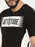 Balck T-Shirt With White Stencil Printed