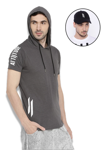 ATTIITUDE GREY SLEEVELESS HOODIE + ATTIITUDE OFF WHITE DENIM JOGGERS