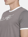 CHRIS GAYLE SIGNATURE COLLECTION GREY T-SHIRT WITH HD PRINT AND WHITE BEANIE
