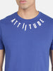 Attiitude Medallion Printed Logo T-Shirt-Dark Blue
