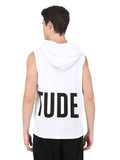 WHITE SLEEVELESS HOODED VEST BIG LOGO