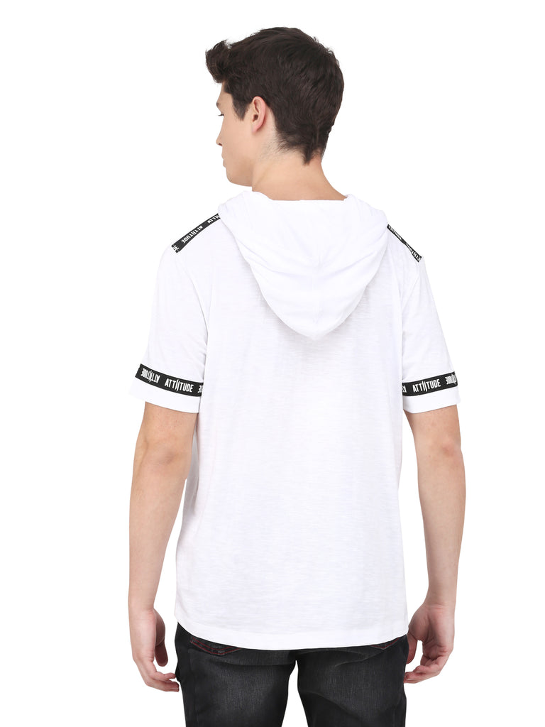White Hooded T-Shirt With Contrast Printed Tape.