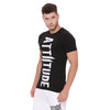 ATTIITUDE REGULAR HEM BLACK T SHIRT WITH CRACK PRINT AND ARM SLEEVE