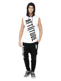 WHITE AND BLACK SLEEVELESS HOODED VEST