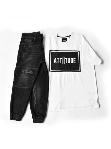 ATTIITUDE WHITE TSHIRT WITH TEXT BOX & ASYMMETRICAL HEM + ATTIITUDE MEN'S BLACK DENIM