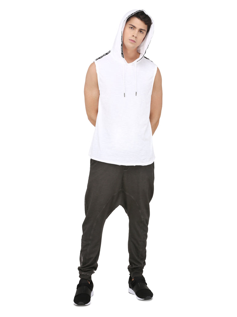 WHITE SLEEVELESS HOODED VEST WITH TAPED