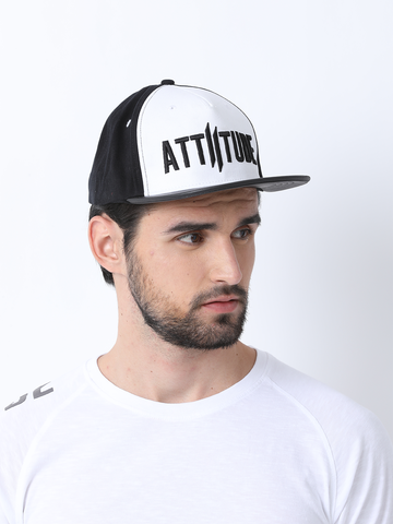 White and Black Front Double I Cap