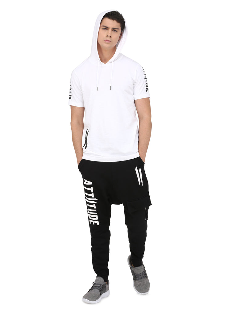 ATTIITUDE MENS WHITE HOODIE T-SHIRT WITH DOUBLE II LOGO