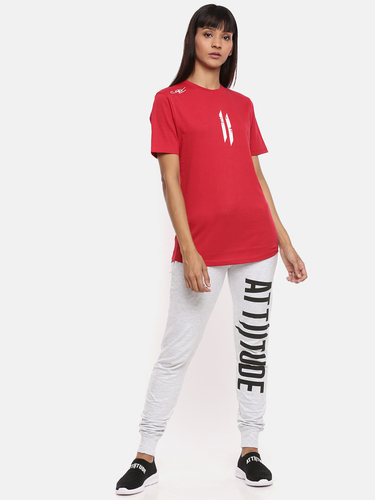 Unisex Half Sleeve Round Neck Red T-shirt
