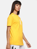 Unisex Half Sleeve Round Neck Yellow T-shirt