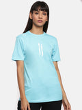 Unisex Half Sleeve Round Neck Light Blue T-shirt