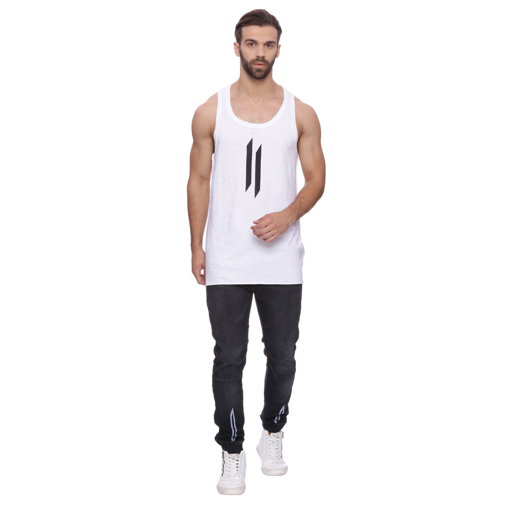 Attiitude Discharge Printed Vest - White