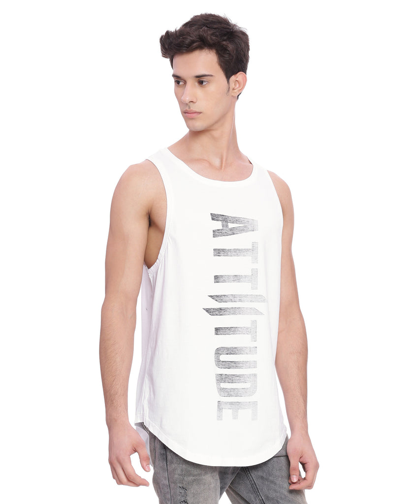 Attiitude White Tank Top