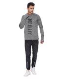Attiitude Charcoal Grey Sweatshirt with Silicon Print