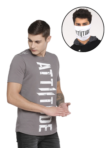 BLACK AND WHITE T-SHIRT WITH VERTICAL LOGO PRINT WITH SPECIAL WASH MASK