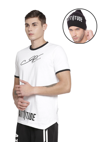 BRAND LOGO T-SHIRT LONG HEM WITH SPLATTER EFFECT AND BLACK BEANIE