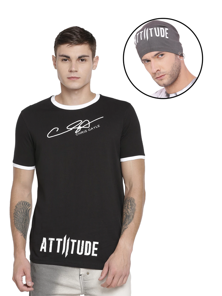 CHRIS GAYLE SIGNATURE COLLECTION BLACK T-SHIRT WITH HD PRINT AND GREY BEANIE