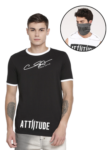 CHRIS GAYLE SIGNATURE COLLECTION BLACK T-SHIRT WITH HD PRINT AND GREY MASK
