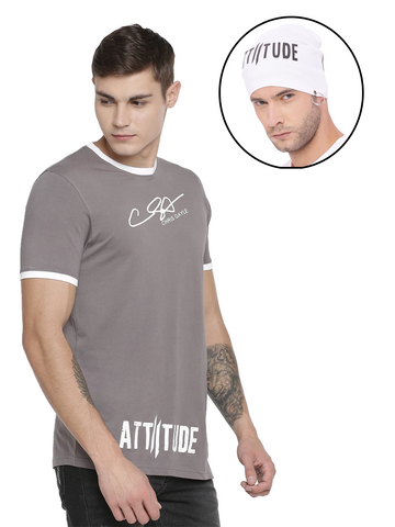 CHRIS GAYLE SIGNATURE COLLECTION BLACK T-SHIRT WITH BRAND LOGO FLOK PRINT AND GREY BEANIE