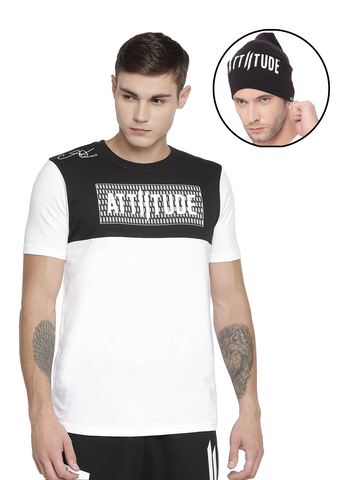 CHRIS GAYLE SIGNATURE COLLECTION BLACK & WHITE T-SHIRT WITH HD PRINT AND BEANIE