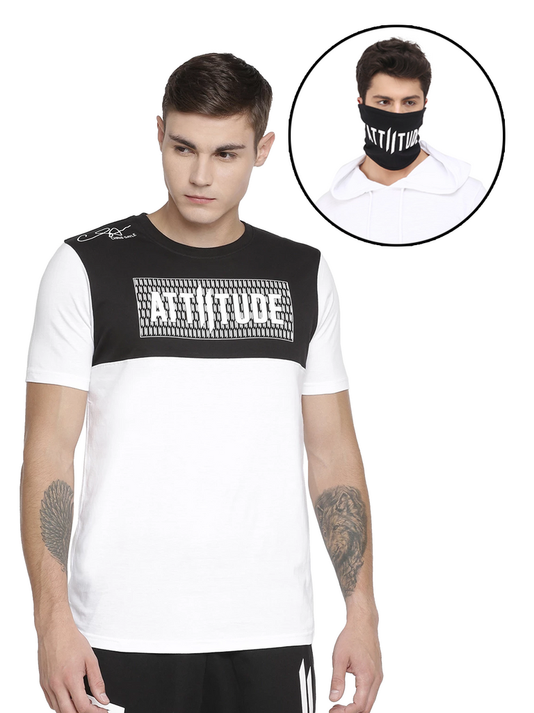 CHRIS GAYLE SIGNATURE COLLECTION BLACK & WHITE T-SHIRT WITH HD PRINT AND BLACK MASK