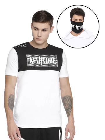 ATTIITUDE REGULAR HEM BLACK T SHIRT WITH CRACK PRINT AND BEANIE