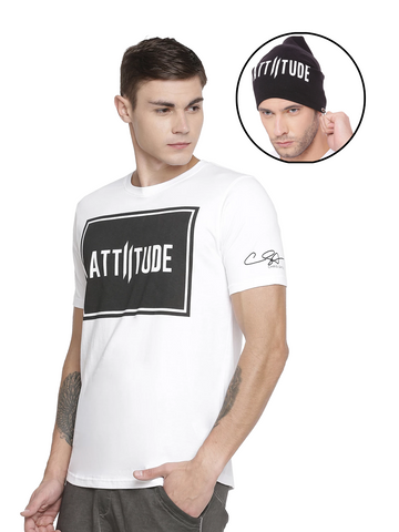 CHRIS GAYLE SIGNATURE COLLECTION WHITE PRINTED LOGO ON CHEST AND BLACK BEANIE