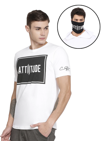 CHRIS GAYLE SIGNATURE COLLECTION WHITE PRINTED LOGO ON CHEST AND BLACK MASK