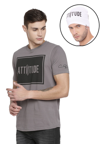 ATTIITUDE GREY DIAGONAL DOUBLE  I LOGO PRINT T-SHIRT